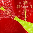 New year's background with clock and sparks of a champagne, vect - Stock Vector