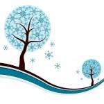 Decorative winter tree background, vector — Stock Vector