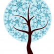 Decorative winter tree, vector — Vector de stock
