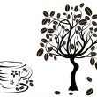 Stock Vector: Coffee tree in a cup, vector