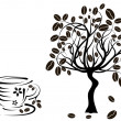 Stock Vector: Coffee tree in cup, vector