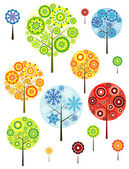 Four seasons abstracts trees, vector — Stock Vector