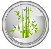 Button with a bamboo, vector — Stock Vector