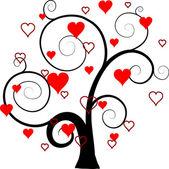 Valentines tree background, vector — Stock Vector
