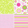 Scrapbook patterns for design, vector - Stockvectorbeeld