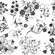 Set of floral elements for design, vector — Stockvectorbeeld