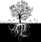 Decorative tree and roots, grass, vector — Stock Vector