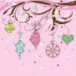 Christmas background with baubles decoration, vector - Stock Vector