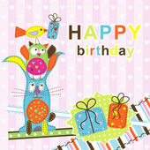Template birthday greeting card, vector — Stock Vector