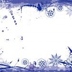 Winter grunge floral frame, vector — Stock Vector