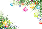 Christmas background with baubles, vector — Stockvektor
