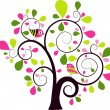 Valentines tree background, vector — Stock Vector #25854695