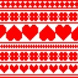 Seamless knitted valentine pattern, vector — Stockvectorbeeld