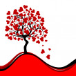Valentines tree background, vector — Stock Vector