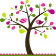 Valentines tree background, vector — Stock Vector #25855149