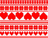 Seamless knitted valentine pattern, vector — ストックベクタ