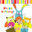 Stock Vector: Template birthday greeting card, vector
