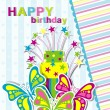 Template birthday greeting card, vector — Stock Vector