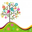Decorative floral tree and bird, vector — Imagen vectorial