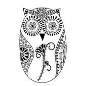 Abstract floral owl, vector — Stock Vector