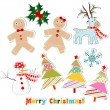 Christmas set for greeting card, vector — Stock Vector