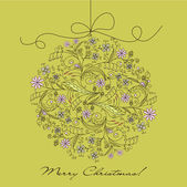 Christmas card with an ornament, vector — Vector de stock