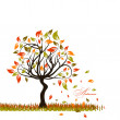 Tree autumn background, vector — Vettoriali Stock
