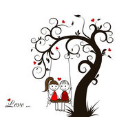 Love story card, vector — Vector de stock