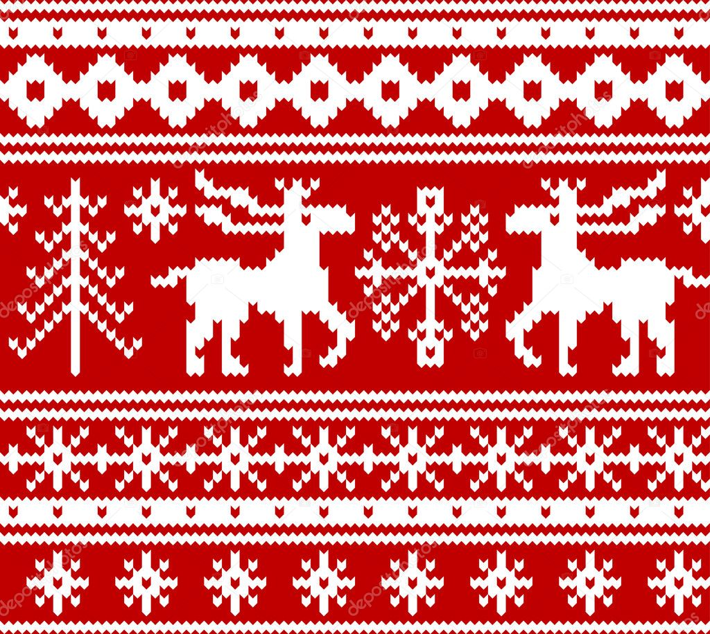 Knit Pattern Christmas Vector : Seamless knitted christmas pattern, vector   Stock Vector ? Tolchik #35877261