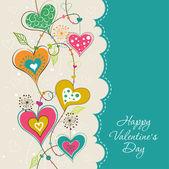 Szablon valentine karty z pozdrowieniami, wektor — Wektor stockowy