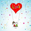 Love story card, vector — Vector de stock  #40491819