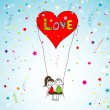 Vector de stock : Love story card, vector