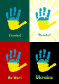 Child's handprint, paint the flag of Ukraine, vector  — Vector de stock