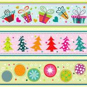 Template Christmas greeting card, ribbon, vector — Stok Vektör