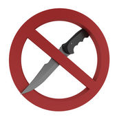 Knifes forbidden sign isolated over white background — Stok fotoğraf