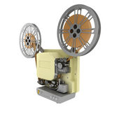 Old-fashioned cinema projector isolated on white background — Stock Photo