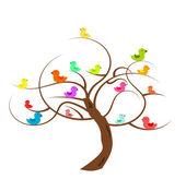 Kuşlar olan ağaç — Stok Vektör