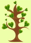 Fantasy tree with green hearts vector — Stock Vector