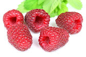 Raspberries and leaves — Stock Photo