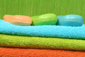 Soap and towels — Stockfoto