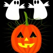 Pumpkin and ghosts on halloween - Stock Vector