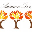 Three autumn trees — Stock Vector