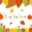 Autumn border with leaves and pumpkin - Stock Vector