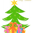 Christmas tree and boxes — Stock Vector