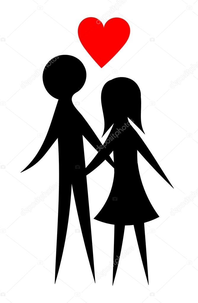 快乐的年轻夫妻情侣剪影 — 矢量图片作者 studiobarcelona