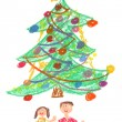 Children and Christmas tree - drawing - Stock Photo