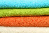 Colorful towels background — Stock Photo