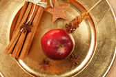 Christmas spices and apple composition — Stockfoto