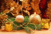 Christmas golden ornaments — Foto de Stock