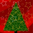 Christmas tree over red — Stock Vector